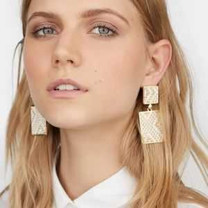 Jewelry - Breezy White Rattan Square Drop Earrings